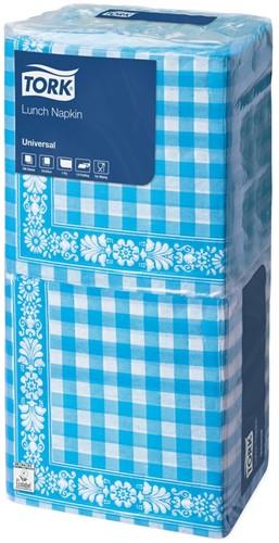 Tork Lunchservet 33x33cm, 1-laags, Geruit, Blue Check, 10 x 500 stuks