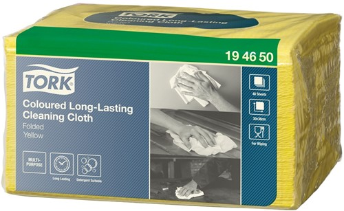 Tork Coloured Long-Lasting Cloth Folded Small Pack, Geel