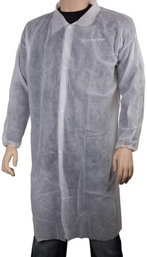 Gejoma Non Woven Bezoekersjassen P/st Verpakt, XL - wit met klittenband 50 x1 st