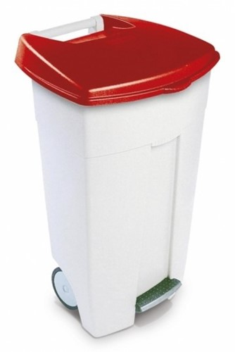 Rubbermaid Eco Step-on Container, Wit, 106 L, Rode Deksel