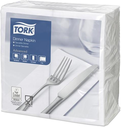 Tork Dinnerservet 39x39cm 2-laags, 1/8 vouw, Wit, 12 x 150 stuks