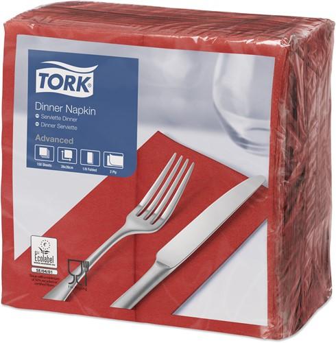 Tork Dinnerservet 39x39cm, 2-laags, 1/8 vouw, Rood, 12 x 150 stuks