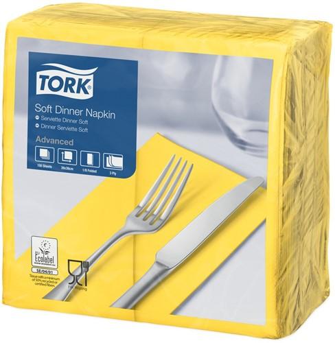 Tork Soft Dinnerservet, 39x39cm, 3-laags, 1/8 vouw, Geel