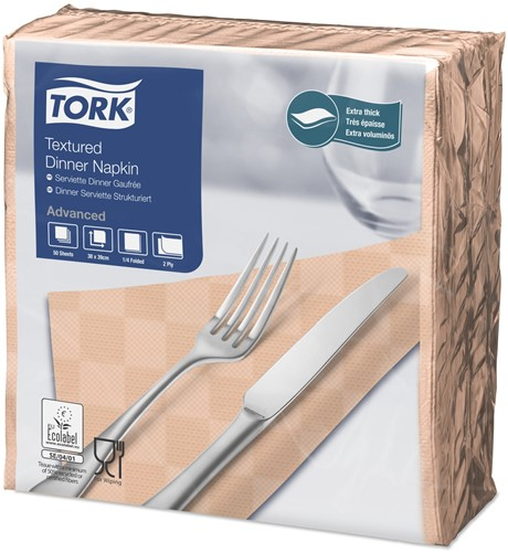 Tork Textured Dinner Servetten 2-laags 1/4-vouw, Perzik