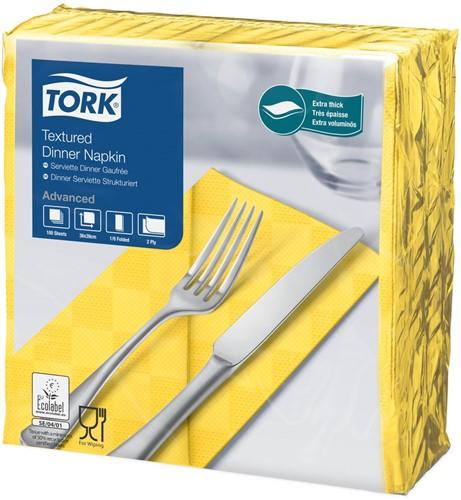 Tork Textured Dinnerservet 2-laags 1/8 vouw Geel