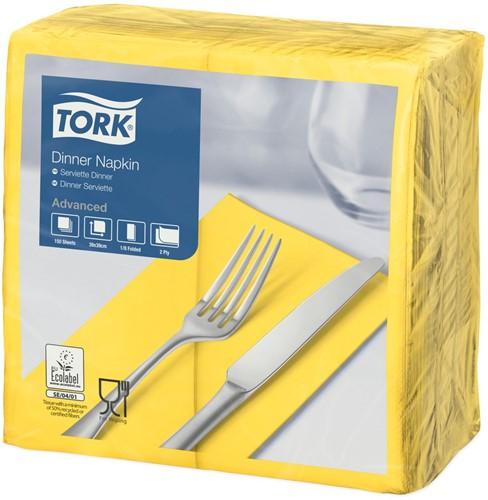 Tork Dinnerservet 39x39cm, 2-laags, 1/8 vouw, Geel, 12 x 150 stuks