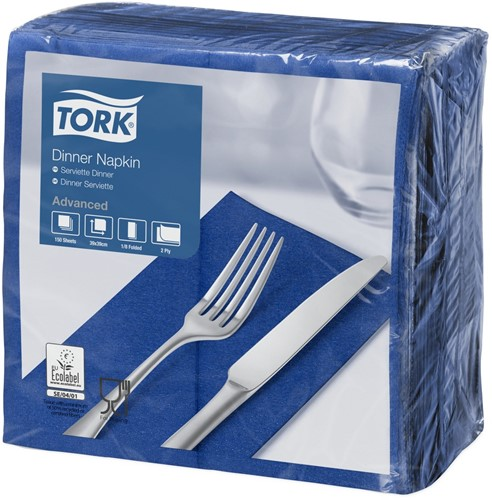 Tork Dinnerservet 39x39cm, 2-laags, 1/8 vouw, DonkerBlauw, 12 x 150 stuks