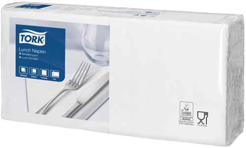 Tork Lunchservet 33x33cm, 2-laags, 1/4-vouw, Wit, 10 x 200 stuks