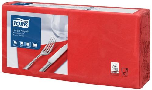 Tork Lunchservet 33x33cm, 2-laags, 1/4-vouw, Rood, 10 x 200 stuks
