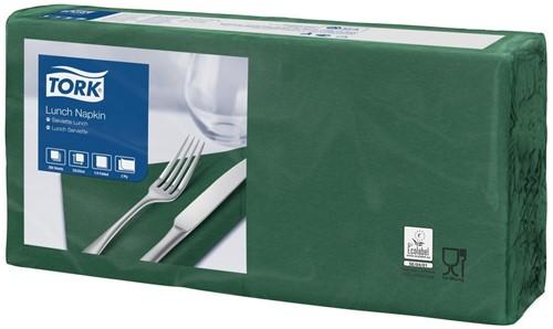 Tork Lunchservet 33x33cm, 2-laags, 1/4-vouw, DonkerGroen, 10 x 200 stuks