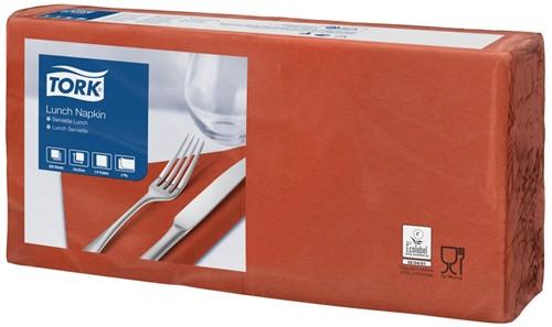 Tork Lunchservet 33x33cm, 2-laags, 1/4-vouw, Terracotta, 10 x 200 stuks
