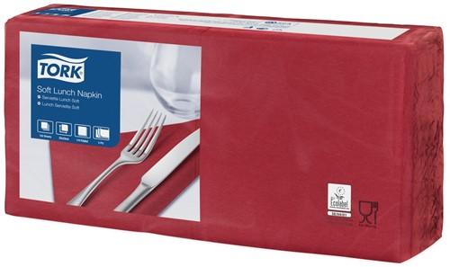 Tork Soft Lunchservet 33x33cm, 3-laags, 1/4-vouw, BordeauxRood, 10 x 150 stuks