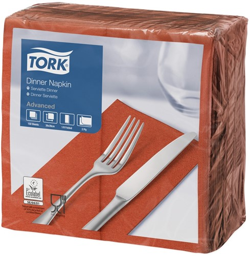 Tork Dinnerservet 39x39cm, 2-laags, 1/8 vouw, Terracotta, 12 x 150 stuks