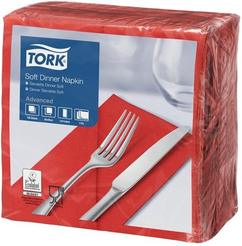 Tork Soft Dinnerservet, 39x39cm, 3-laags, 1/8 vouw, Rood