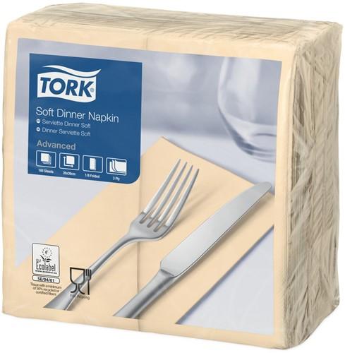 Tork Soft Dinnerservet, 39x39cm, 3-laags, 1/8 vouw, Zand
