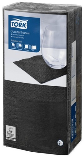 Tork Cocktailservet 24x24cm, 2-laags, 1/4 vouw, Zwart, 12 x 200 stuks