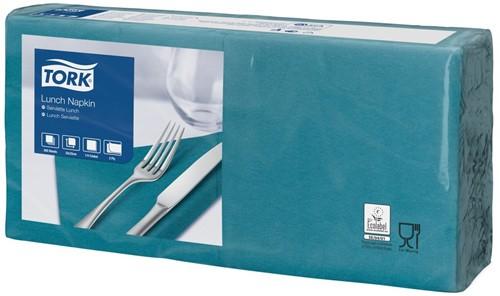 Tork Lunchservet 33x33cm, 2-laags, 1/4-vouw, BlauwGroen, 10 x 200 stuks