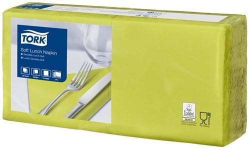 Tork Soft Lunchservet 33x33cm, 3-laags, 1/4-vouw, Lime, 10 x 150 stuks