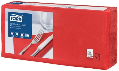 Tork Soft Lunchservet 33x33cm, 3-laags, 1/4-vouw, Rood, 10 x 150 stuks