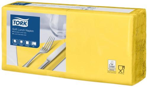 Tork Soft Lunchservet 33x33cm, 3-laags, 1/4-vouw, Geel, 10 x 150 stuks