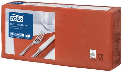 Tork Soft Lunchservet 33x33cm, 3-laags, 1/4-vouw, Terracotta, 10 x 150 stuks