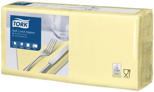 Tork Soft Lunchservet 33x33cm, 3-laags, 1/4-vouw, Champagne, 10 x 150 stuks