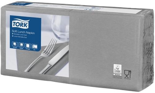 Tork Soft Lunchservet 33x33cm, 3-laags, 1/4-vouw, Grijs, 10 x 150 stuks