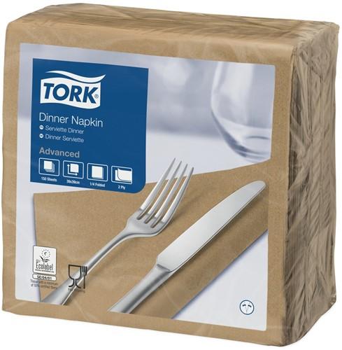 Tork Dinnerservet 39x39cm, 2-laags, 1/4 vouw, Biscuit, 12 x 150 stuks
