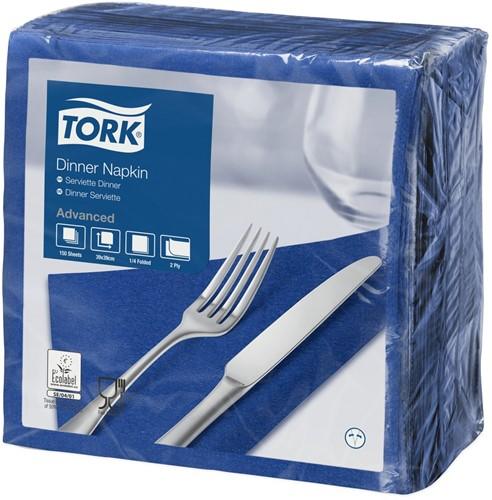 Tork Dinnerservet 39x39cm, 2-laags, 1/4 vouw, DonkerBlauw, 12 x 150 stuks