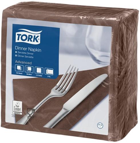 Tork Dinnerservet 39x39cm, 2-laags, 1/4 vouw, Bruin, 12 x 150 stuks