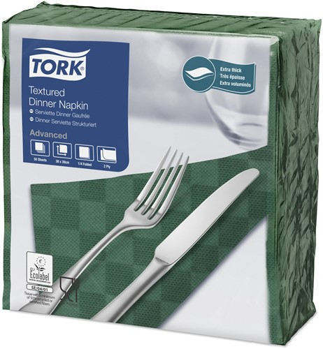 Tork Textured Dinnerservet 2-laags 1/4-vouw DonkerGroen