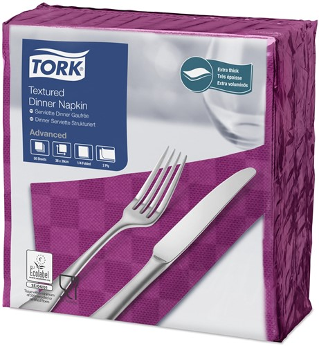 Tork Textured Dinnerservet 2-laags 1/4-vouw Paars