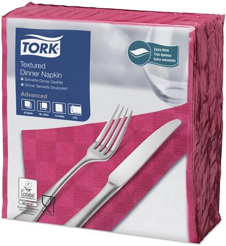Tork Textured Dinnerservet 2-laags 1/4-vouw Felroze