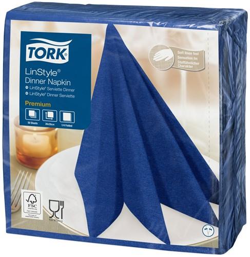 Tork Premium Linstyle Diner Servet, 39x39cm, 1/4-vouw, Midnight Blue