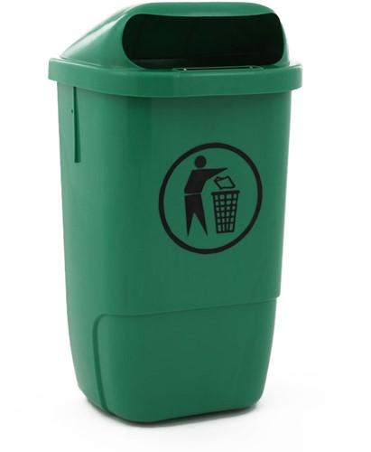 Kunststof Afvalbak buiten h74, Groen 50 L