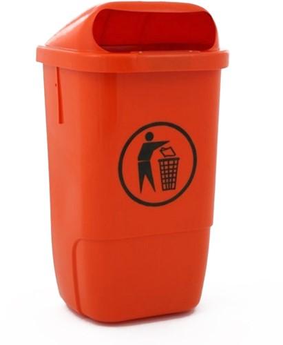 Kunststof Afvalbak buiten h74, Oranje 50 L