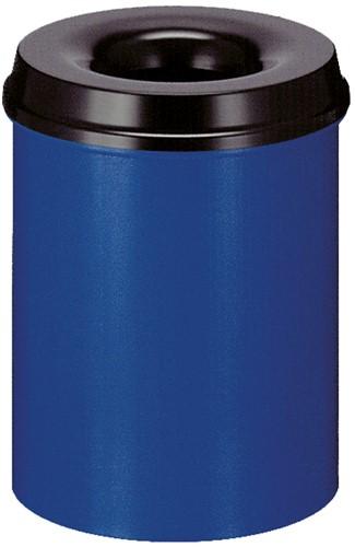Vlamdovende papierbak, 15 L, Blauw / Zwart