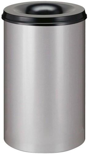 Vlamdovende papierbak, 110 L, Aluminium / Zwart