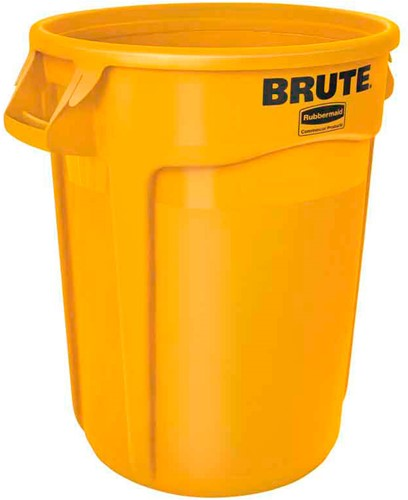 Rubbermaid Ronde Brute Container, 121,1 L, Geel