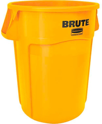 Rubbermaid Ronde Brute Container, 166,5L, Geel