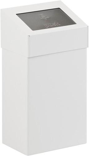 Afvalbak met pushklep, 18 L, Wit