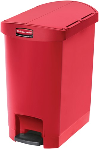 Rubbermaid Slim Jim Step On Container, End Step, Kunststof, 30L, Rood