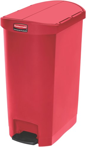 Rubbermaid Slim Jim Step On Container, End Step, Kunststof, 50L, Rood