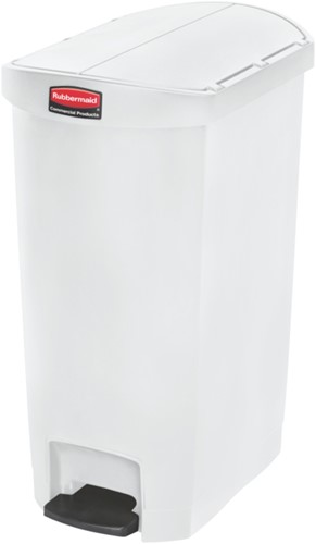 Rubbermaid Slim Jim Step On Container, End Step, Kunststof, 50L, Wit