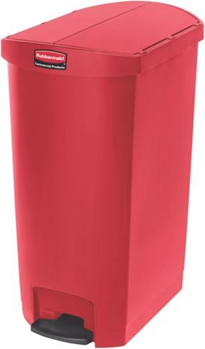 Rubbermaid Slim Jim Step On Container, End Step, Kunststof, 68L, Rood