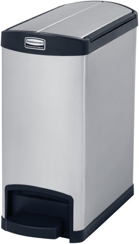 Rubbermaid Slim Jim Step On Container, End Step, RVS, 30L, Zwart