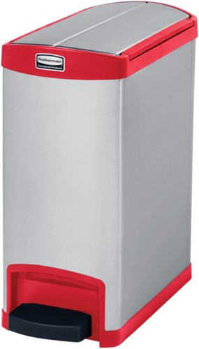 Rubbermaid Slim Jim Step On Container, End Step, RVS, 30L, Rood