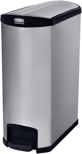 Rubbermaid Slim Jim Step On Container, End Step, RVS, 90L, Zwart