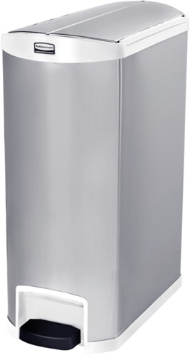 Rubbermaid Slim Jim Step On Container, End Step, RVS, 90L, Wit