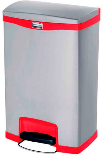 Rubbermaid Slim Jim Step On, Container, Front Step, RVS, 50L, Rood